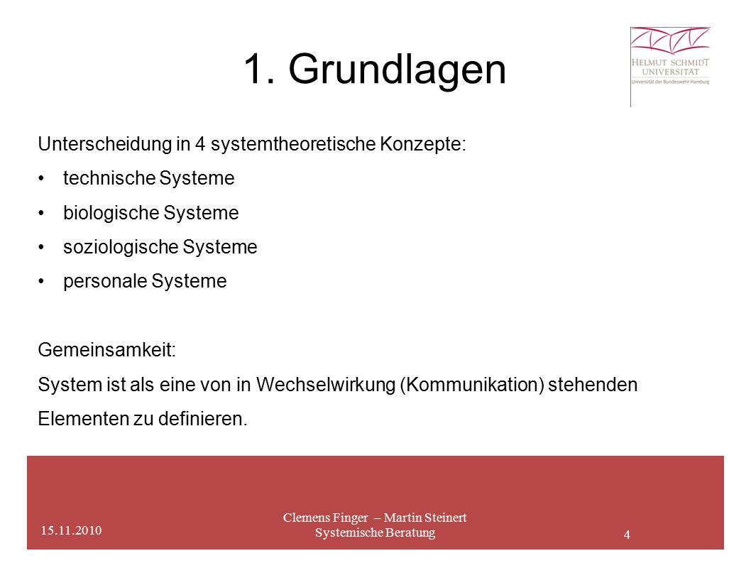 4 1. Grundlagen Clemens Finger – Martin Steinert Systemische Beratung 15.11.2010 Unterscheidung in 4 systemtheoretische Konzepte: technische Systeme b