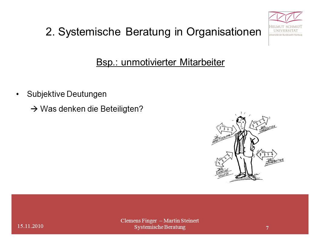 7 2. Systemische Beratung in Organisationen Clemens Finger – Martin Steinert Systemische Beratung 15.11.2010 Bsp.: unmotivierter Mitarbeiter Subjektiv