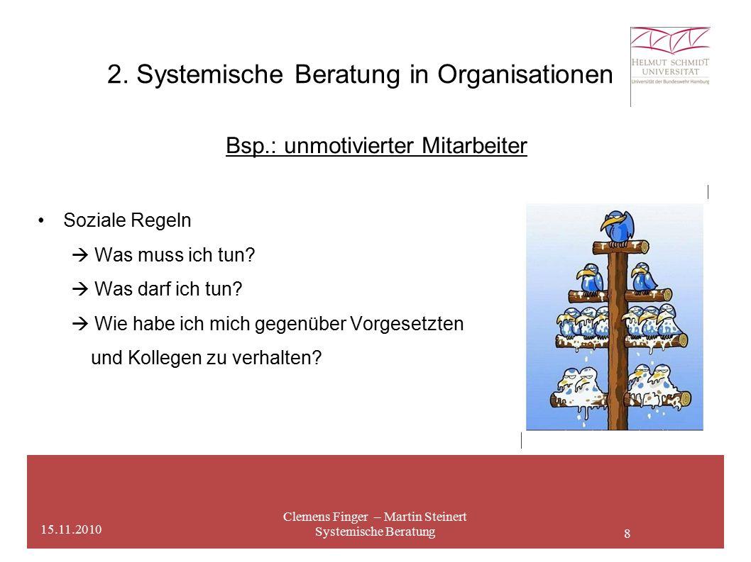 8 2. Systemische Beratung in Organisationen Clemens Finger – Martin Steinert Systemische Beratung 15.11.2010 Bsp.: unmotivierter Mitarbeiter Soziale R