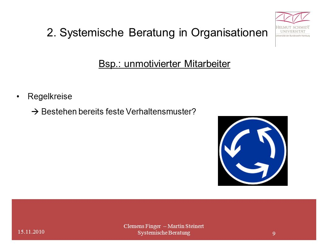 9 2. Systemische Beratung in Organisationen Clemens Finger – Martin Steinert Systemische Beratung 15.11.2010 Bsp.: unmotivierter Mitarbeiter Regelkrei