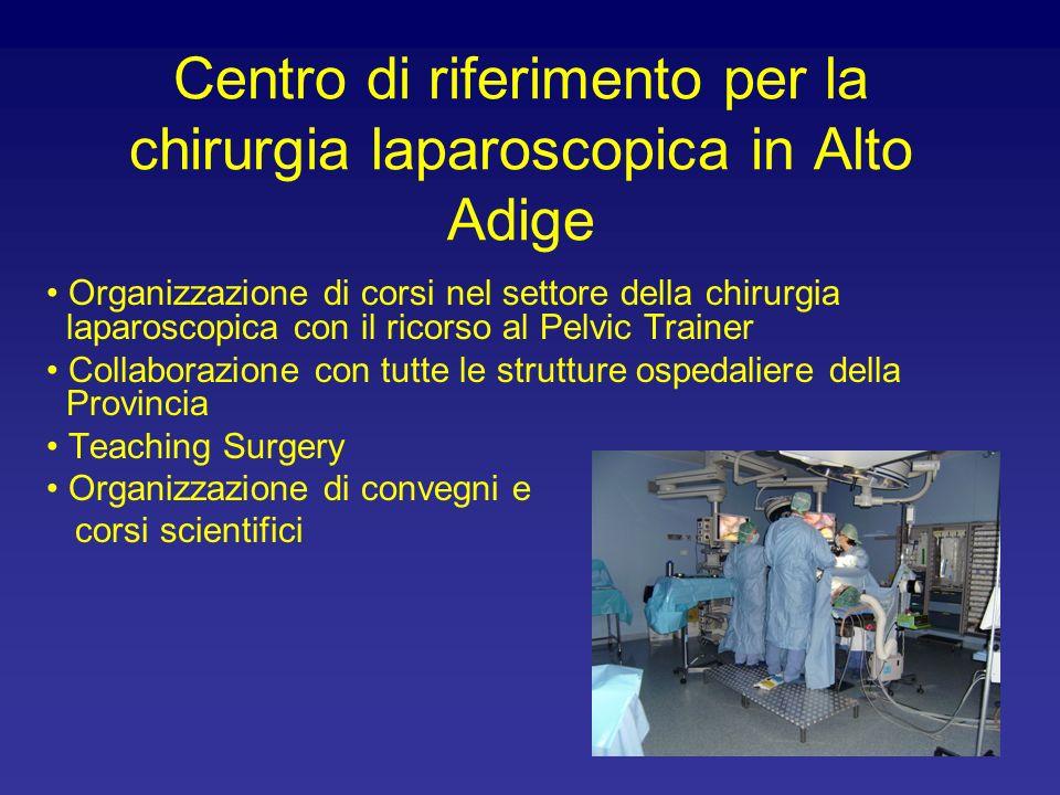 Centro di riferimento per la chirurgia laparoscopica in Alto Adige Organizzazione di corsi nel settore della chirurgia laparoscopica con il ricorso al Pelvic Trainer Collaborazione con tutte le strutture ospedaliere della Provincia Teaching Surgery Organizzazione di convegni e corsi scientifici