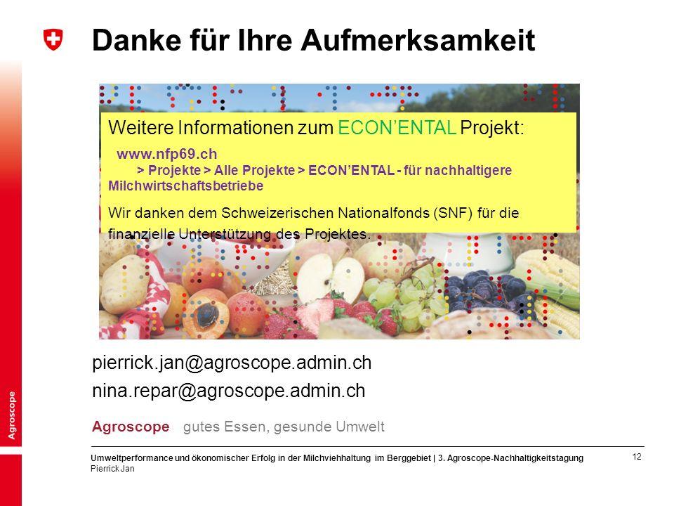 12 Umweltperformance und ökonomischer Erfolg in der Milchviehhaltung im Berggebiet | 3.