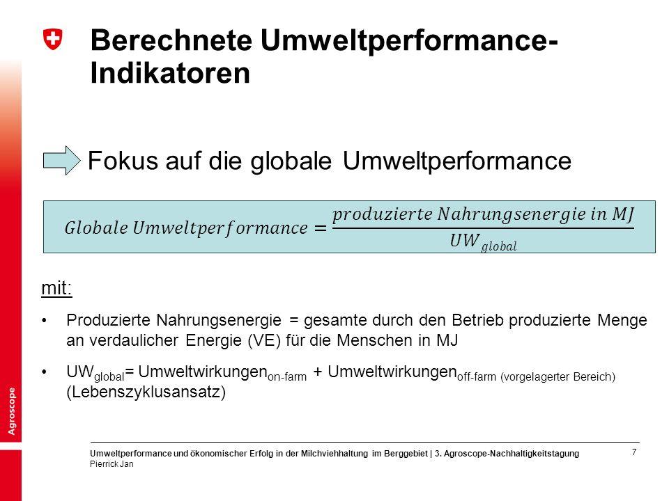 8 Umweltperformance und ökonomischer Erfolg in der Milchviehhaltung im Berggebiet | 3.