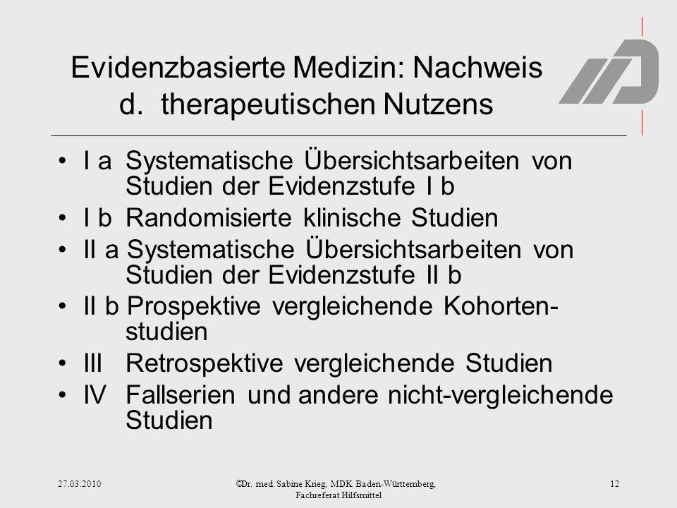 © Evidenzbasierte Medizin: Nachweis d. therapeutischen Nutzens I a Systematische Übersichtsarbeiten von Studien der Evidenzstufe I b I b Randomisierte
