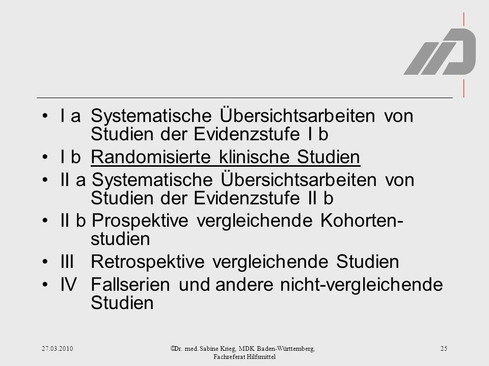 © I a Systematische Übersichtsarbeiten von Studien der Evidenzstufe I b I b Randomisierte klinische Studien II a Systematische Übersichtsarbeiten von