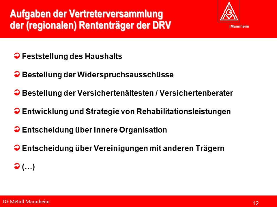 IG Metall Mannheim Mannheim Aufgaben der Vertreterversammlung der (regionalen) Rententräger der DRV Feststellung des Haushalts Bestellung der Widerspr