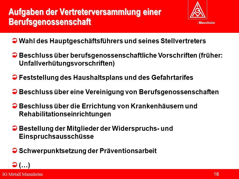IG Metall Mannheim Mannheim Aufgaben der Vertreterversammlung einer Berufsgenossenschaft Wahl des Hauptgeschäftsführers und seines Stellvertreters Bes