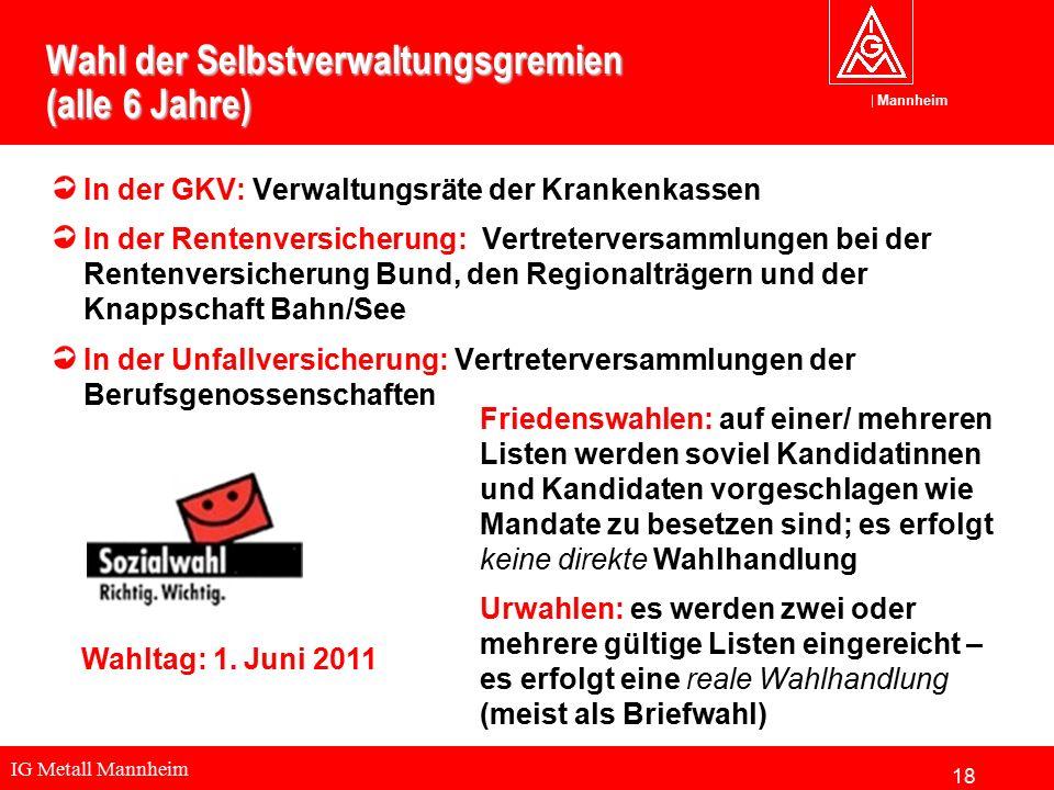 IG Metall Mannheim Mannheim Wahl der Selbstverwaltungsgremien (alle 6 Jahre) In der GKV: Verwaltungsräte der Krankenkassen In der Rentenversicherung: