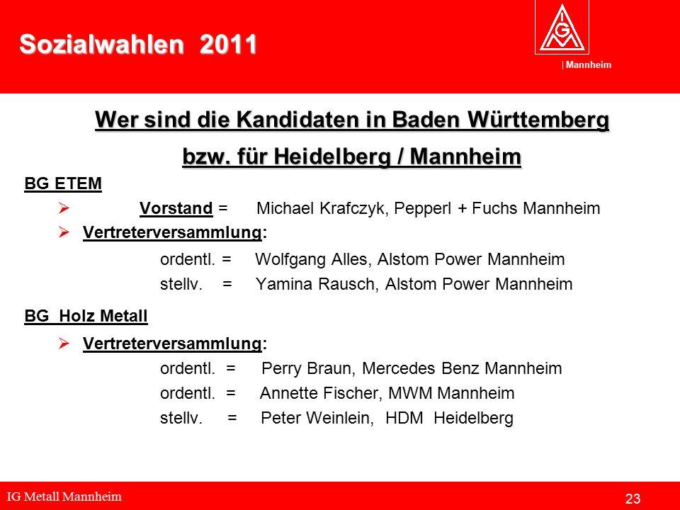 IG Metall Mannheim Mannheim Sozialwahlen 2011 Wer sind die Kandidaten in Baden Württemberg bzw. für Heidelberg / Mannheim BG ETEM  Vorstand = Michael