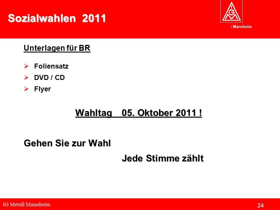 IG Metall Mannheim Mannheim Sozialwahlen 2011 Unterlagen für BR  Foliensatz  DVD / CD  Flyer Wahltag 05. Oktober 2011 ! Gehen Sie zur Wahl Jede Sti