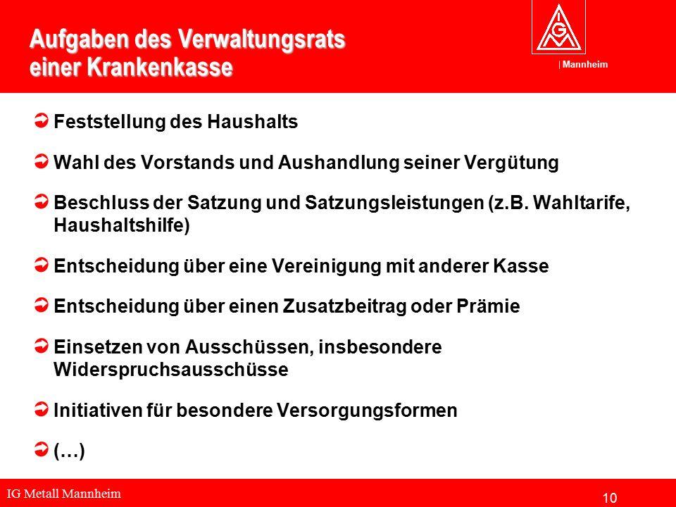 IG Metall Mannheim Mannheim Aufgaben des Verwaltungsrats einer Krankenkasse Feststellung des Haushalts Wahl des Vorstands und Aushandlung seiner Vergü
