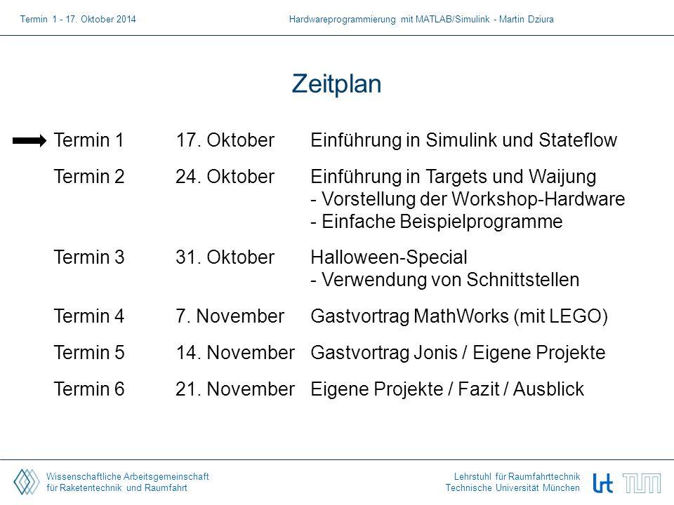 Wissenschaftliche Arbeitsgemeinschaft für Raketentechnik und Raumfahrt Lehrstuhl für Raumfahrttechnik Technische Universität München Zeitplan Termin 117.