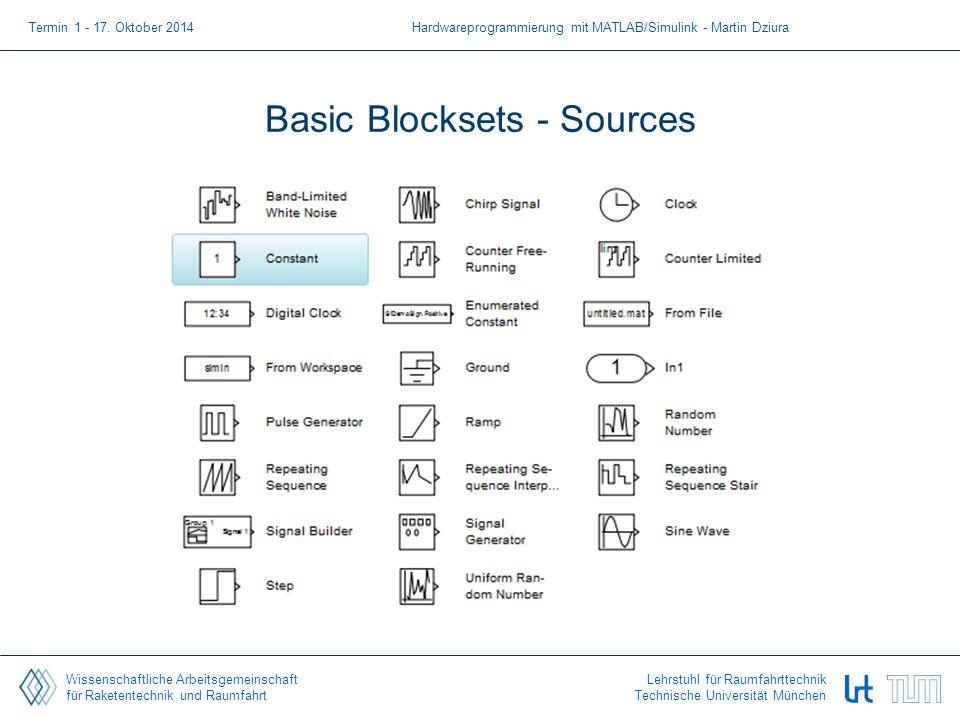 Wissenschaftliche Arbeitsgemeinschaft für Raketentechnik und Raumfahrt Lehrstuhl für Raumfahrttechnik Technische Universität München Basic Blocksets - Sources Termin 1 - 17.