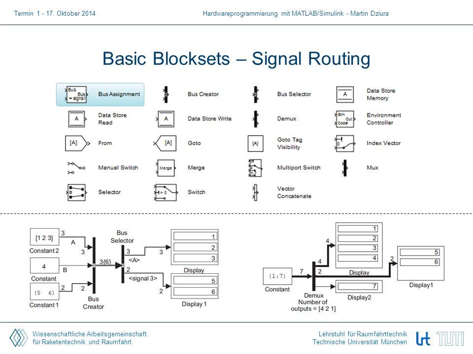 Wissenschaftliche Arbeitsgemeinschaft für Raketentechnik und Raumfahrt Lehrstuhl für Raumfahrttechnik Technische Universität München Basic Blocksets – Signal Routing Termin 1 - 17.