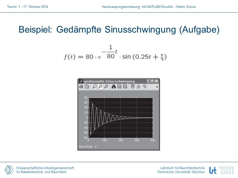 Wissenschaftliche Arbeitsgemeinschaft für Raketentechnik und Raumfahrt Lehrstuhl für Raumfahrttechnik Technische Universität München Beispiel: Gedämpf