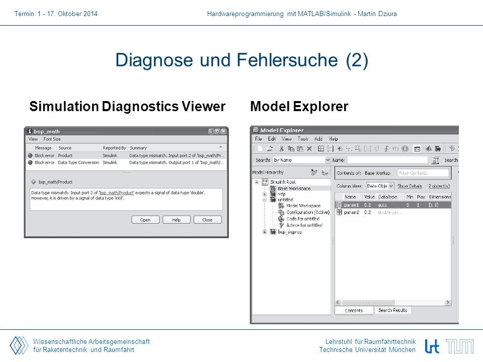 Wissenschaftliche Arbeitsgemeinschaft für Raketentechnik und Raumfahrt Lehrstuhl für Raumfahrttechnik Technische Universität München Diagnose und Fehlersuche (2) Simulation Diagnostics ViewerModel Explorer Termin 1 - 17.