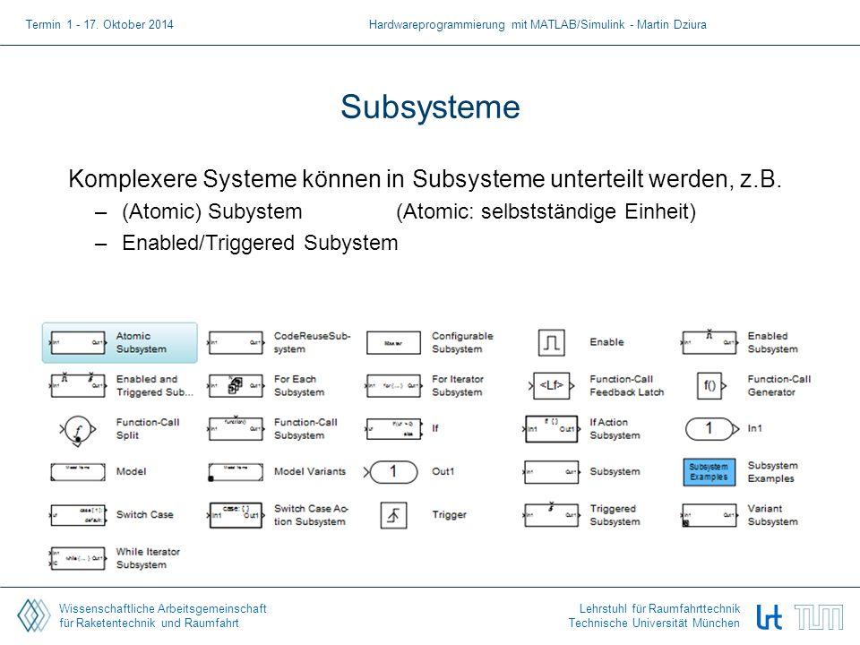 Wissenschaftliche Arbeitsgemeinschaft für Raketentechnik und Raumfahrt Lehrstuhl für Raumfahrttechnik Technische Universität München Subsysteme Komplexere Systeme können in Subsysteme unterteilt werden, z.B.