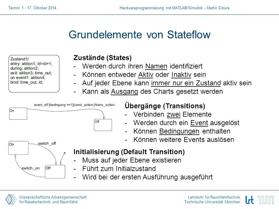 Wissenschaftliche Arbeitsgemeinschaft für Raketentechnik und Raumfahrt Lehrstuhl für Raumfahrttechnik Technische Universität München Grundelemente von Stateflow Termin 1 - 17.