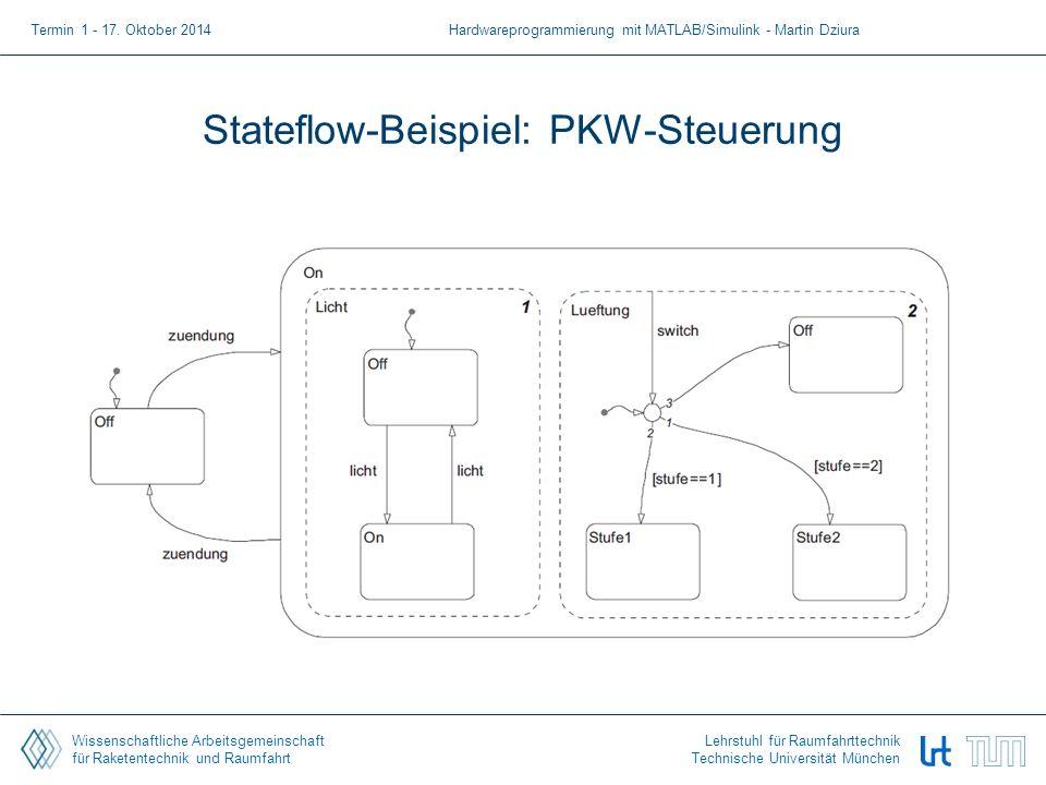 Wissenschaftliche Arbeitsgemeinschaft für Raketentechnik und Raumfahrt Lehrstuhl für Raumfahrttechnik Technische Universität München Stateflow-Beispiel: PKW-Steuerung Termin 1 - 17.