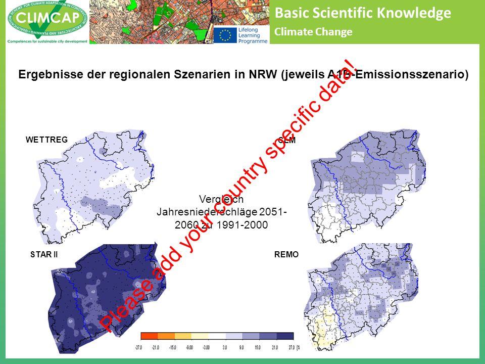 Basic Scientific Knowledge Climate Change Vergleich Jahresniederschläge 2051- 2060 zu 1991-2000 STAR II WETTREGCLM REMO Ergebnisse der regionalen Szenarien in NRW (jeweils A1B-Emissionsszenario) Please add your country specific data!