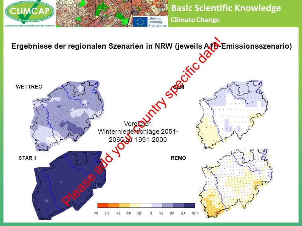Basic Scientific Knowledge Climate Change Vergleich Winterniederschläge 2051- 2060 zu 1991-2000 STAR II WETTREGCLM REMO Ergebnisse der regionalen Szenarien in NRW (jeweils A1B-Emissionsszenario) Please add your country specific data!