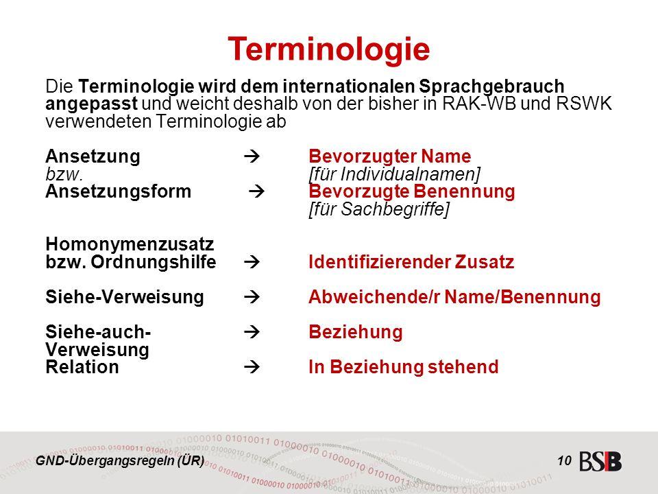GND-Übergangsregeln (ÜR) 10 Die Terminologie wird dem internationalen Sprachgebrauch angepasst und weicht deshalb von der bisher in RAK-WB und RSWK verwendeten Terminologie ab Ansetzung  Bevorzugter Name bzw.[für Individualnamen] Ansetzungsform  Bevorzugte Benennung [für Sachbegriffe] Homonymenzusatz bzw.