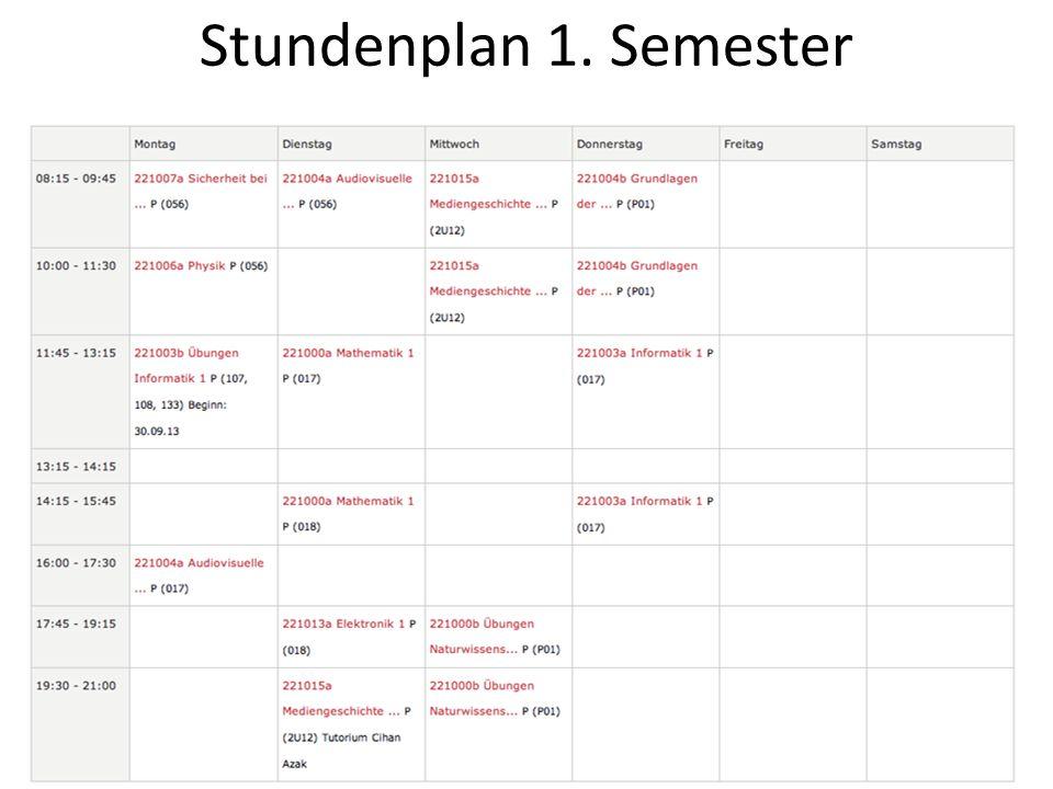 Stundenplan 1. Semester