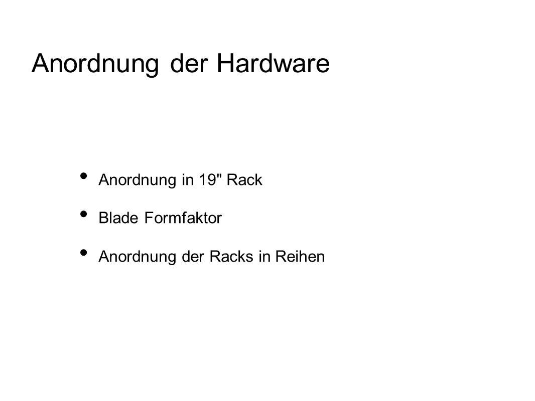 Anordnung der Hardware Anordnung in 19 Rack Blade Formfaktor Anordnung der Racks in Reihen