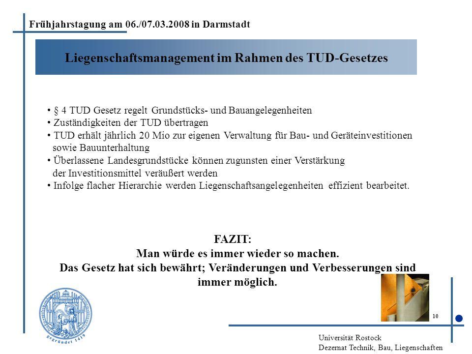 Universität Rostock Dezernat Technik, Bau, Liegenschaften 10 Liegenschaftsmanagement im Rahmen des TUD-Gesetzes Frühjahrstagung am 06./07.03.2008 in D
