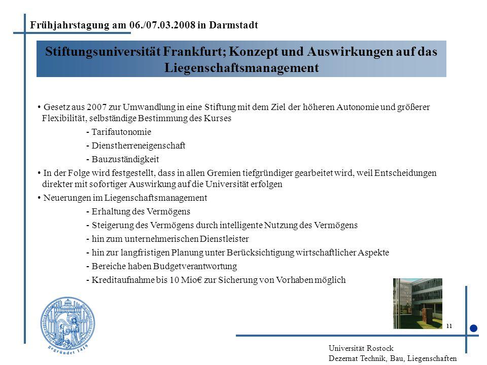 Universität Rostock Dezernat Technik, Bau, Liegenschaften 11 Stiftungsuniversität Frankfurt; Konzept und Auswirkungen auf das Liegenschaftsmanagement