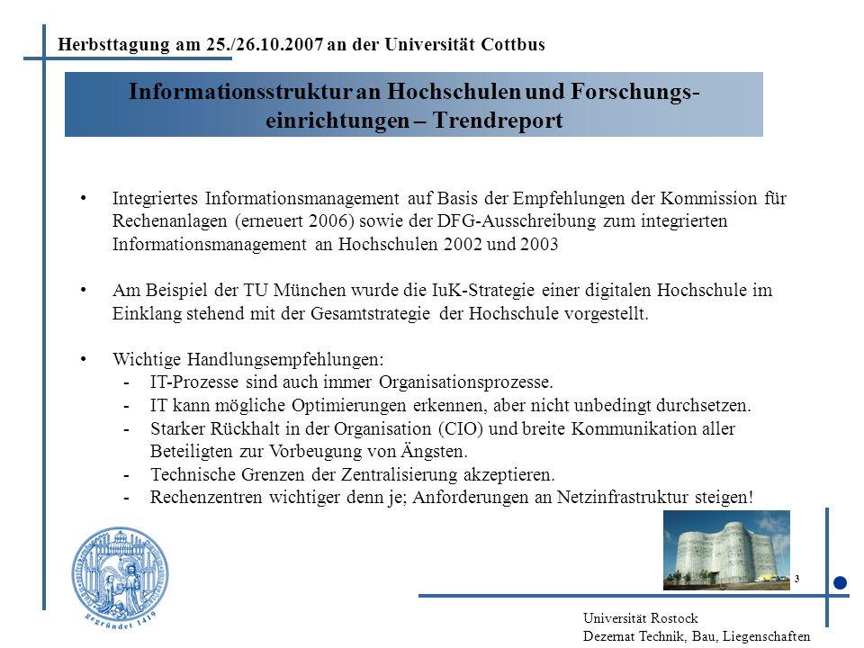 Universität Rostock Dezernat Technik, Bau, Liegenschaften 4 Informations-, Kommunikations-, Medienzentrum der Brandenburgischen Technischen Universität Cottbus (IKMZ) Mit dem IKMZ wurden Aufgaben von Bibliotheken, Medien, Multimedia- zentrum, Rechenzentrum, Verwaltung mit DV-Bereichen konsequent räumlich und organisatorisch (einheitliche Leitung) umgesetzt.