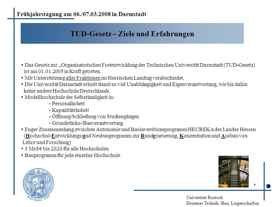 """Universität Rostock Dezernat Technik, Bau, Liegenschaften 9 TUD-Gesetz – Ziele und Erfahrungen Das Gesetz zur """"Organisatorischen Fortentwicklung der T"""