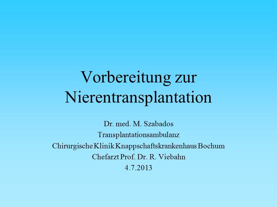 Vorbereitung zur Nierentransplantation Dr. med. M.