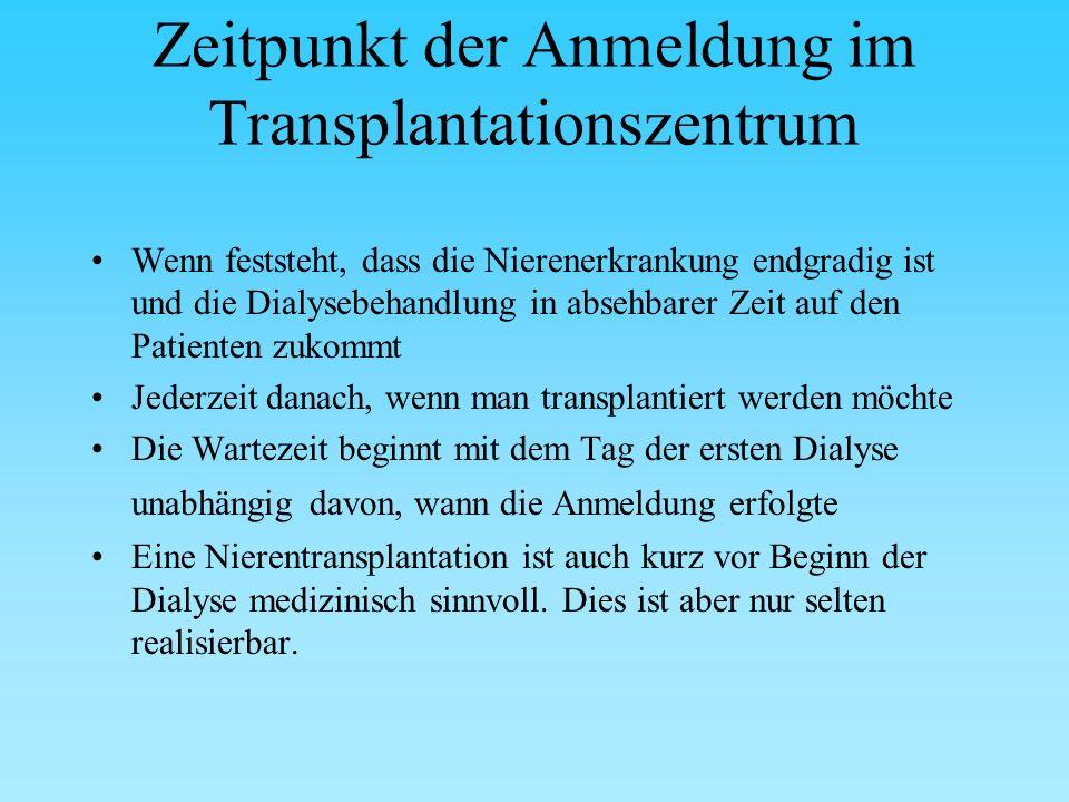 Vorbereitung zur Nierentransplantation Einschätzung der Risiken durch die Operation und durch die Medikamente, die die Nierenabstoßung verhindern sollen (Medikamente zur Veränderung des Immunsystems - Immunsuppressiva)