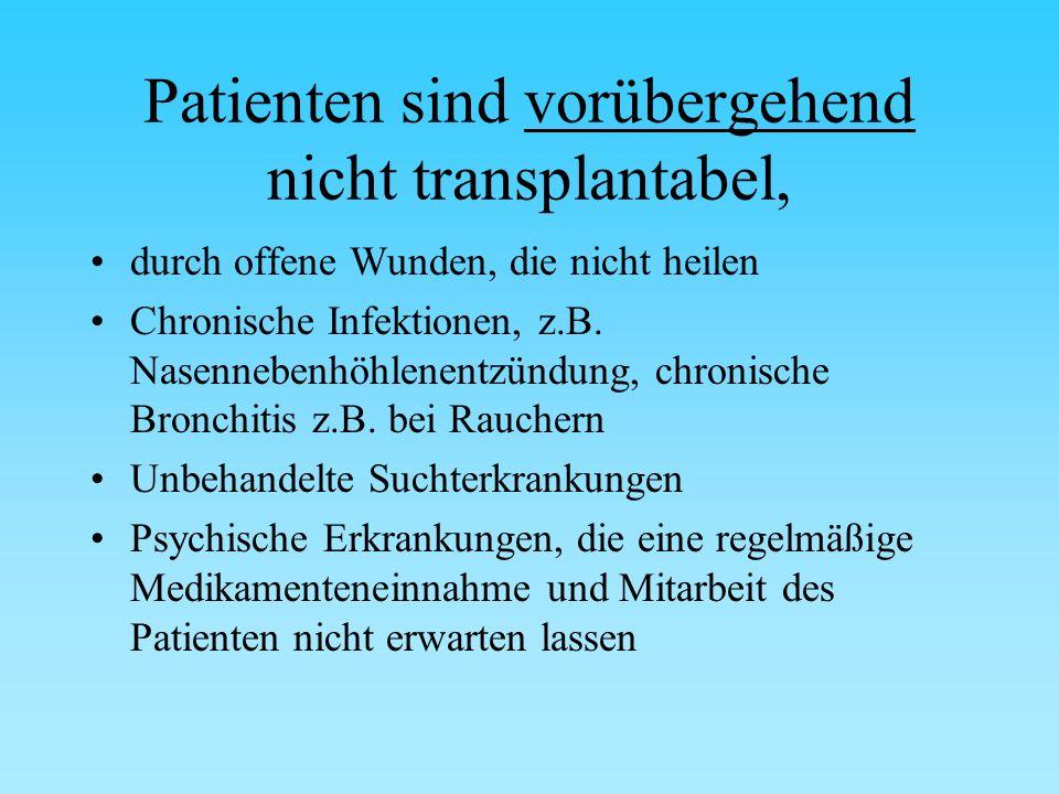 Patienten sind vorübergehend nicht transplantabel, durch offene Wunden, die nicht heilen Chronische Infektionen, z.B.