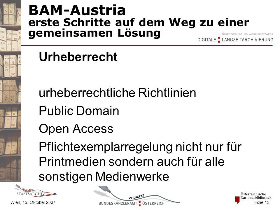 Wien, 15. Oktober 2007 Folie 13 BAM-Austria erste Schritte auf dem Weg zu einer gemeinsamen Lösung Urheberrecht urheberrechtliche Richtlinien Public D