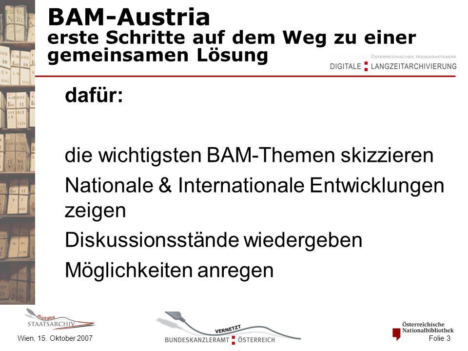 BAM-Austria erste Schritte auf dem Weg zu einer gemeinsamen Lösung dafür: die wichtigsten BAM-Themen skizzieren Nationale & Internationale Entwicklung