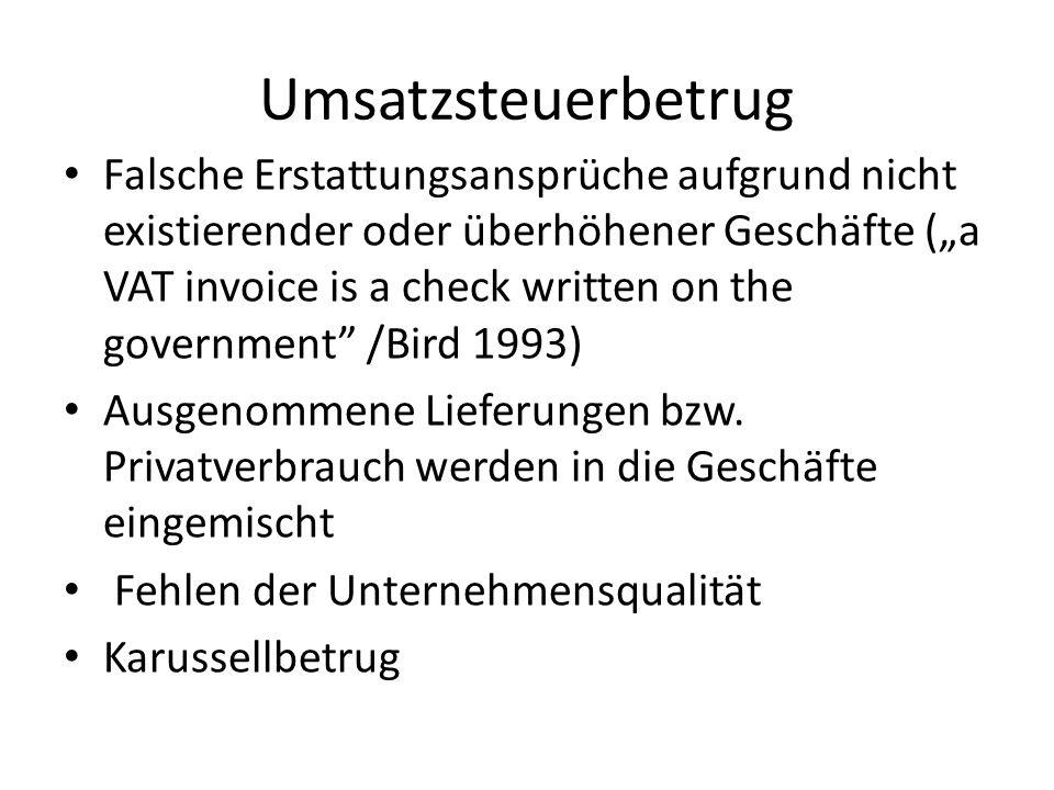Geschätzter Umsatzsteuerausfall Es hängt davon ab… 2.4%-34.5% aller steuerpflichtigen Umsätze EU-Durchschnitt: 15.8%-22 % (zunehmende Tendenz)