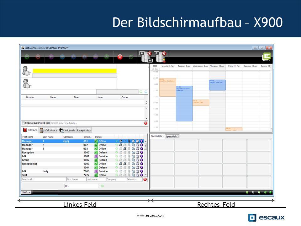 Der Bildschirmaufbau – X900 Rechtes Feld Linkes Feld www.escaux.com