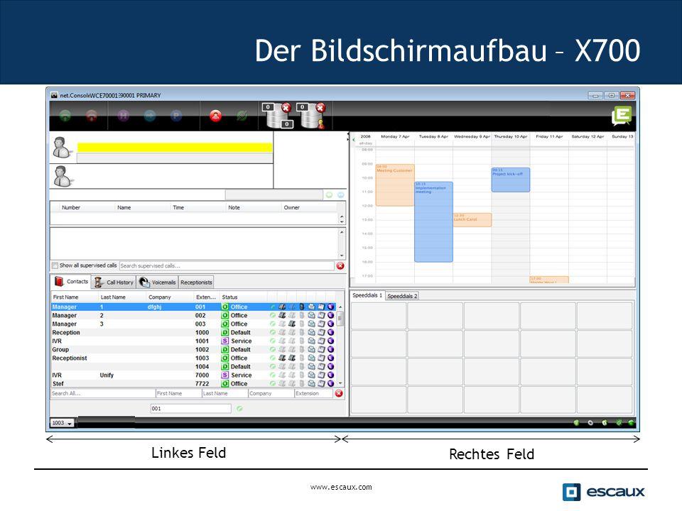 Der Bildschirmaufbau – X700 Rechtes Feld Linkes Feld www.escaux.com