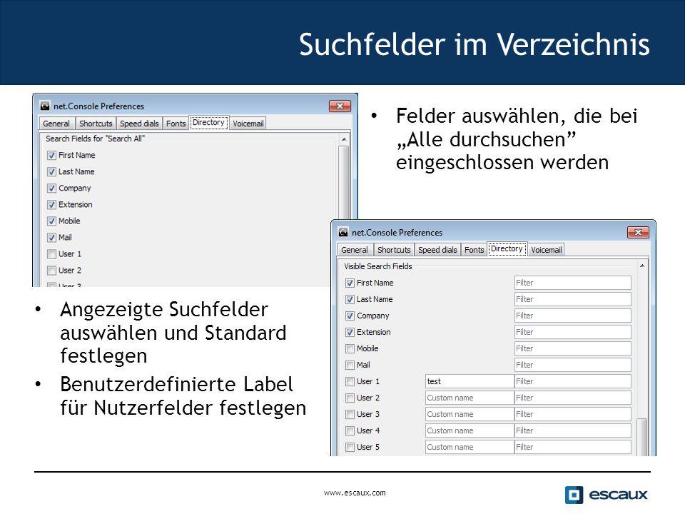 """www.escaux.com Suchfelder im Verzeichnis Felder auswählen, die bei """"Alle durchsuchen eingeschlossen werden Angezeigte Suchfelder auswählen und Standard festlegen Benutzerdefinierte Label für Nutzerfelder festlegen"""