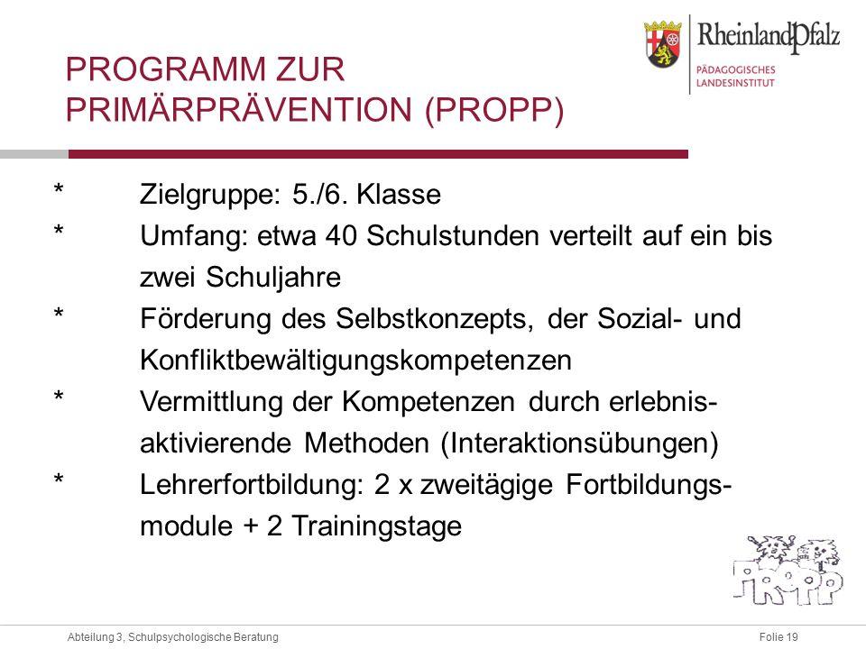 Folie 19Abteilung 3, Schulpsychologische Beratung PROGRAMM ZUR PRIMÄRPRÄVENTION (PROPP) *Zielgruppe: 5./6.