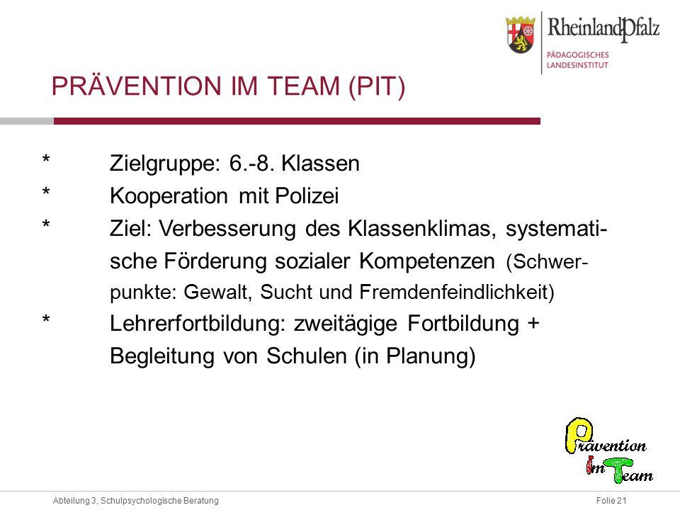 Folie 21Abteilung 3, Schulpsychologische Beratung PRÄVENTION IM TEAM (PIT) *Zielgruppe: 6.-8.