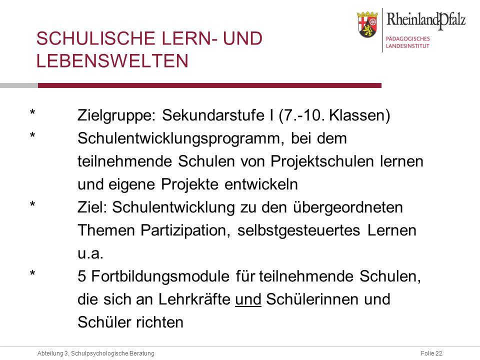 Folie 22Abteilung 3, Schulpsychologische Beratung SCHULISCHE LERN- UND LEBENSWELTEN *Zielgruppe: Sekundarstufe I (7.-10.