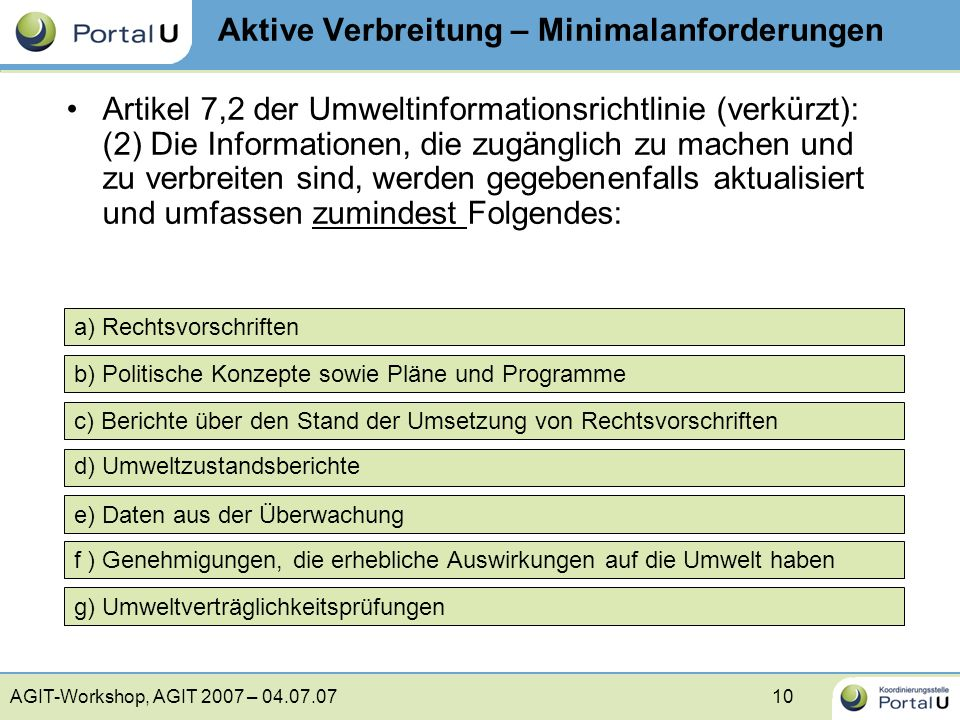 AGIT-Workshop, AGIT 2007 – 04.07.0710 b) Politische Konzepte sowie Pläne und Programme c) Berichte über den Stand der Umsetzung von Rechtsvorschriften