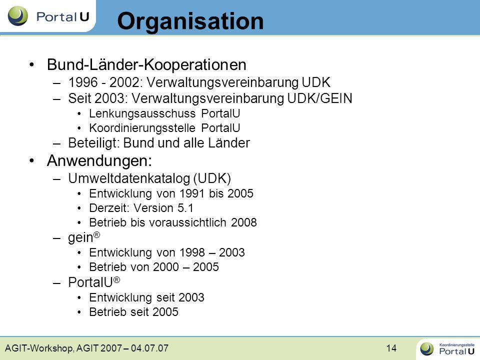 AGIT-Workshop, AGIT 2007 – 04.07.0714 Organisation Bund-Länder-Kooperationen –1996 - 2002: Verwaltungsvereinbarung UDK –Seit 2003: Verwaltungsvereinba
