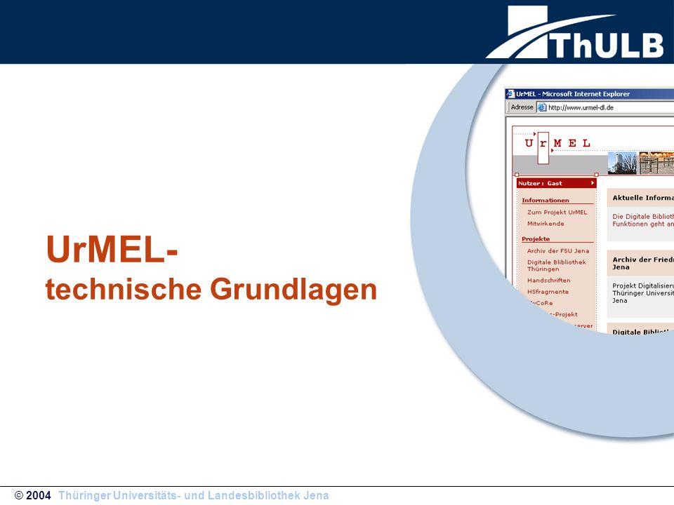 UrMEL ist ein System von Applikationen das sich aus Java-Servlets und – Applets zusammensetzt, XML-Techniken bei der Verarbeitung der Daten verwendet und auf dem kommerziellen IBM-Produkt Content Manager sowie DB2 als Datenbank-Backend aufbaut.