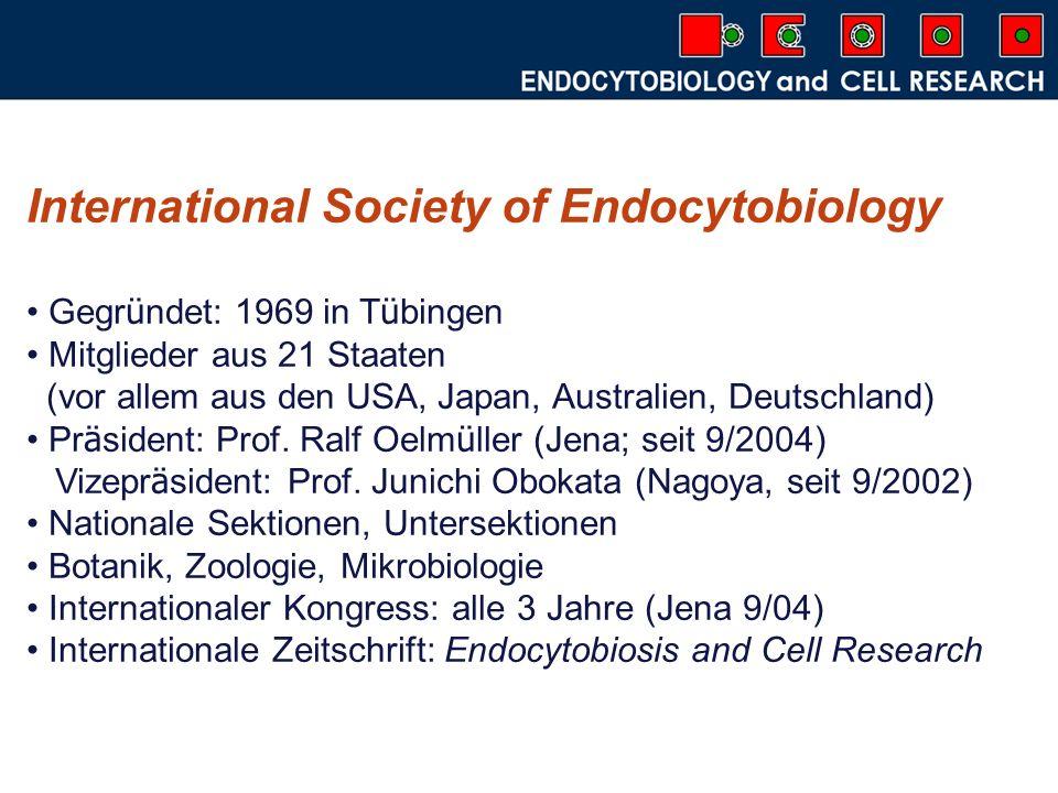 Endocytobiosis and Cell Research 11 Fachcluster International Editorial Board Advisory Board Impact factor 15 B ä nde erschienen bisher (1 Band pro Jahr) 4 Ausgaben pro Jahr Ziel: online journal