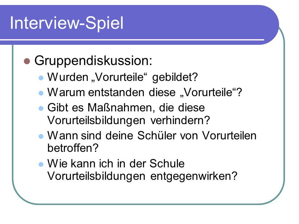 """Interview-Spiel Gruppendiskussion: Wurden """"Vorurteile gebildet."""