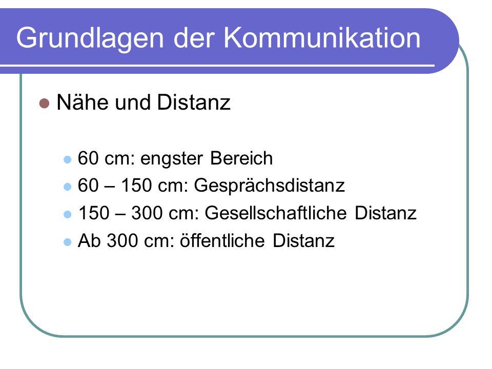 Grundlagen der Kommunikation Nähe und Distanz 60 cm: engster Bereich 60 – 150 cm: Gesprächsdistanz 150 – 300 cm: Gesellschaftliche Distanz Ab 300 cm: öffentliche Distanz